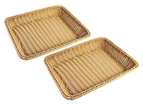 JustNile Plastic Faux Rattan Hand Woven Storage Multipurpose/Bread Basket, Brown, 15.7