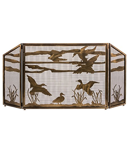Meyda Tiffany Fireplace Screen - Meyda Tiffany 187785 66 X 32 in. Ducks in Flight Fireplace Screen