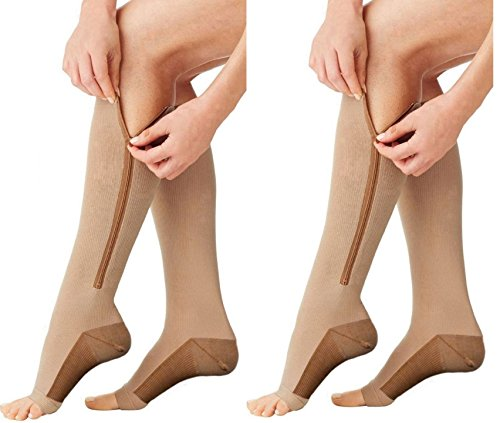 Right Leg Beige Toe Med (Moja Sports (ZipCu/Beige, Sm/Med, 2Pr) Compression Zipper Copper Socks Best Graduated Athletic & Medical Use for Men & Women for Running, Flight, Travel, Nurses - Boost Performance, Blood Circulation)