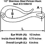 """1/2"""" Stainless Steel Pelican Hook"""