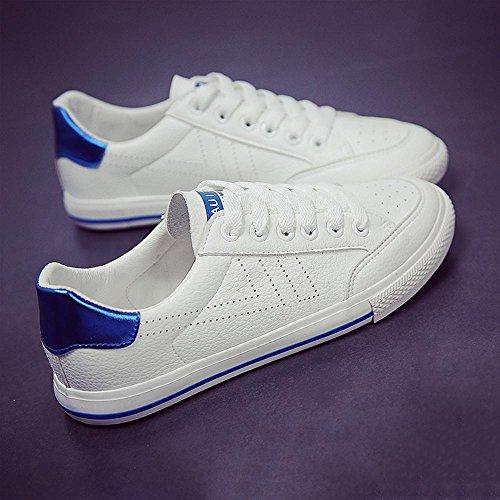 piatta atletici da bassa 36 delle inferiore delle lace donne casuale tela appartamenti blue di cima degli tennis NSX up white della canapa scarpe skate pattini UxXwZftqx