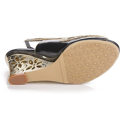 Paseo Mujer Tacón Cuña Fiesta Nvxie Vestir Diamante Tamaño Boda Sandalias Tobillo Zapatos Señoras Negro Correa PIddxvq