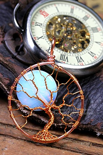 Steampunk Tree of Life Pendant Opalite Moonstone Full Moon Copper Wrapped Jewelry Handmade by PhoenixFire Designs