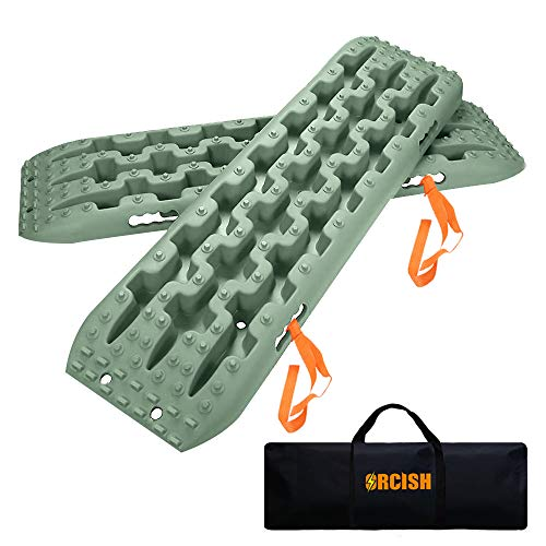 - ORCISH Recovery Traction Boards Tracks Tire ladder for Sand Snow Mud 4WD(Set of 2), Olive