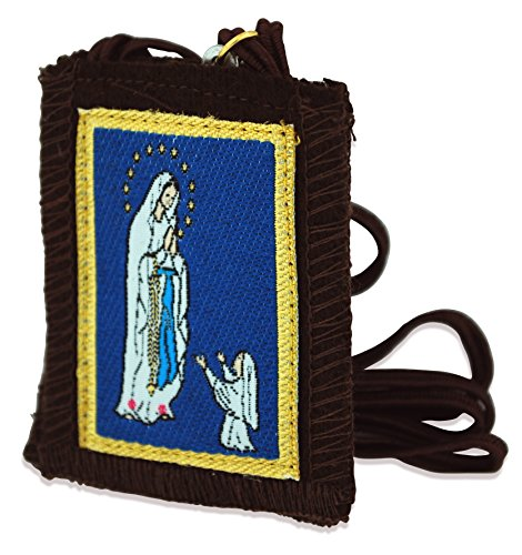 Authentic Catholic Scapular - 100% Wool (Our Lady of Lourdes Scapular w/ Brown Cord)