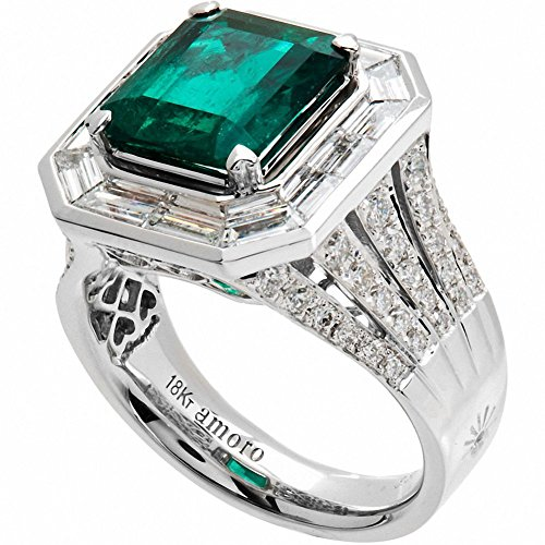 Amoro-18k-White-Gold-Colombian-Emerald-Ring-and-Diamond-Ring-304-cttw-G-H-ColorVS2-SI1-Clarity