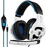 GW SADES Newly SA810 Over Ear Stereo Bass Gaming Headset Headphones with Noise Isolation Microphone for New Xbox One PC PS4 Laptop Phone(White)