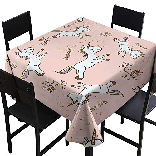 (SKDSArts Party Table Cover Seamless Cartoon Baby Unicorn Pattern with Handmade Sign unicorn1,W70 x L70 for)