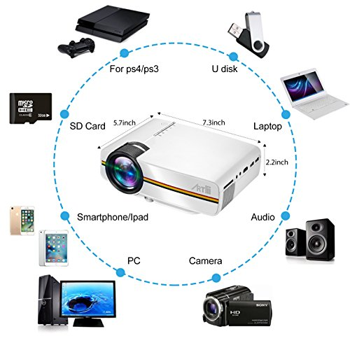 Artlii Portable Hd Home Theater Support 1080p Lcd: Portable Pico Projector,Artlii Home Theater Projector