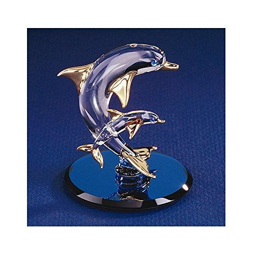 Dolphin & Baby Glass Figurine (Crystal Dolphins Figurine)