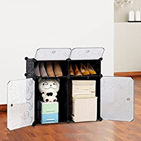 LANGRIA 4-Cube Storage Cube Closet Organizer Shelf Cabinet Bookcase, Shoe Rack Plastic Cabinet with Doors, 2 Cubbies and 2 Big Cubes, Black and White Curly Pattern