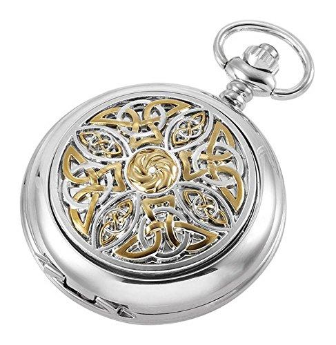(Woodford Mens Glit Celtic Skeleton Chain Pocket Watch - Silver/Gold)