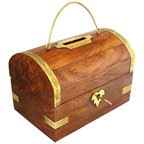 Wooden Money Bank - Large Piggy Bank - Decorative Home Decor - Coin Box for Kids & Adult Gifts ()