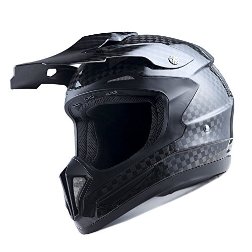 Genuine Real Carbon Fiber 1Storm Motocross Helmet Off Road ATV Dirt Bike MX BMX Black