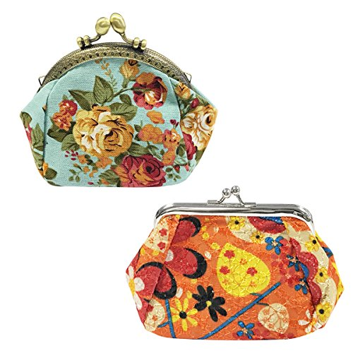 Wrapables Canvas and Embroidered Floral Coin Purse (Set of 2), Orange/Sky Blue