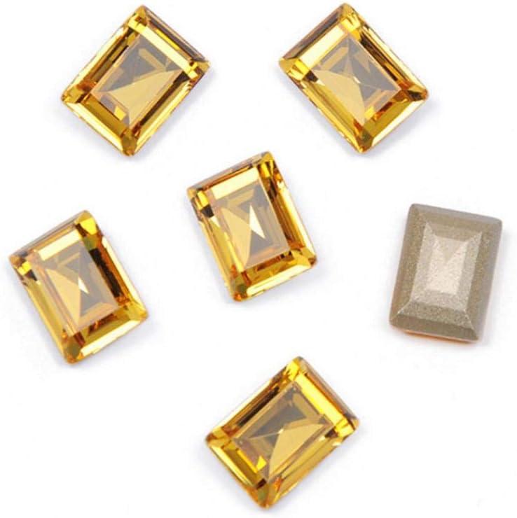 PENVEAT 4527 Step Cut Top Cosido Cristal Pointback Cristal Piedras Strass Costura Strass Piedras para Ropa Vestidos, Topacio Claro, con Garra Dorada