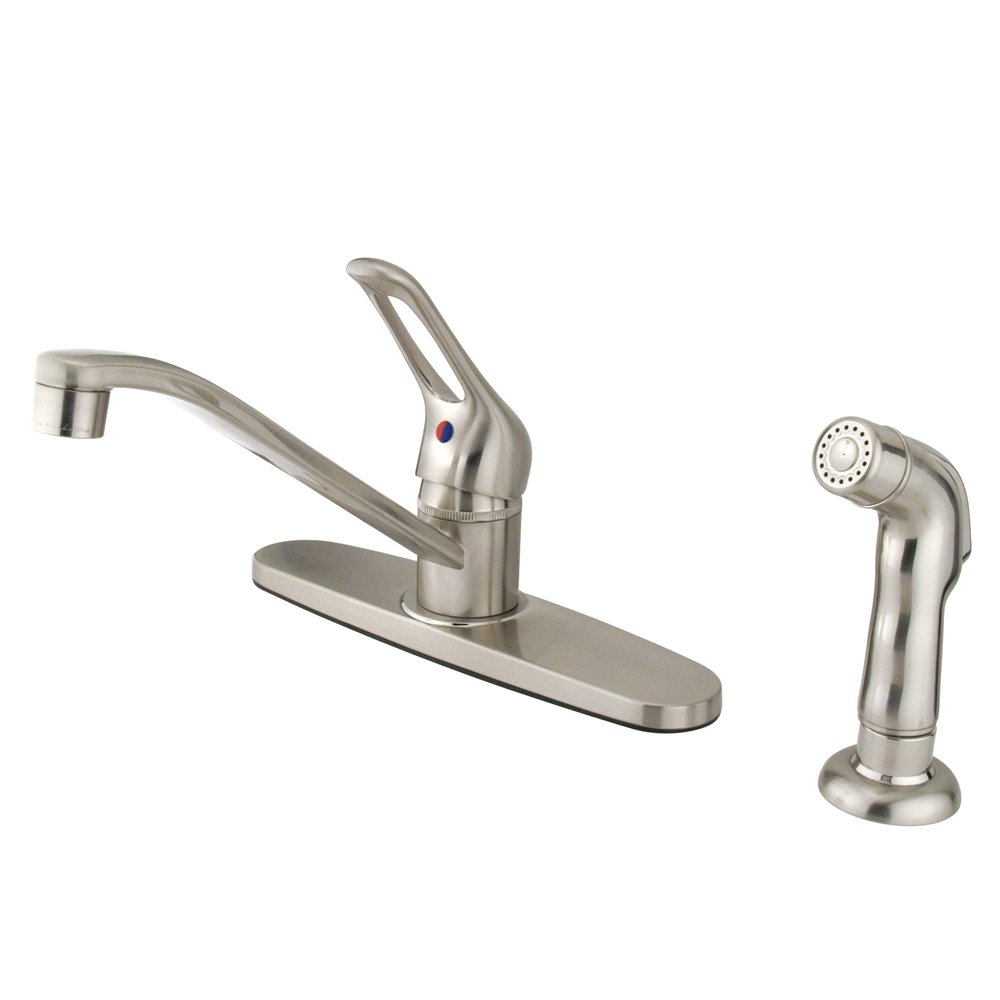 Kingston Brass KB562SNSP Wyndham Single Loop Handle Kitchen Faucet with Side Sprayer, 8-Inch, Brushed Nickel