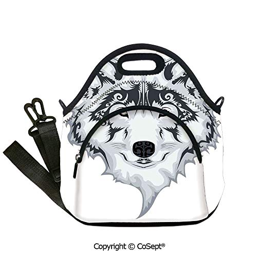 Waterproof Lunch Shoulder Bags,Astonishing Big Cat Famous Symbol of the Courage Leopard with Spots,for School Travel Picnic Office(12.59x6.29x12.59 inch) White and ()