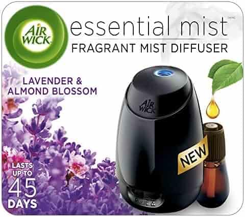 Air Wick Essential Oils Diffuser Mist Kit (Gadget + 1 Refill), Lavender & Almond Blossom, Air Freshener