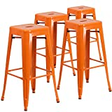 Flash Furniture 4 Pk. 30'' High Backless Orange Metal Indoor-Outdoor Barstool with Square Seat