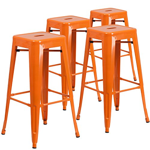 "Flash Furniture 4 Pk. 30"" High Backless Orange"