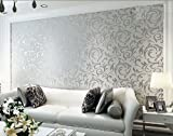 HANMERO Long Murals PVC Vinyl Bump-dimensional Environmental Protection Wall Paper Wallpaper Roll Damask Material Embossed Textured Pattern Wallpaper Tv Living Room Bedroom - Silver Gray