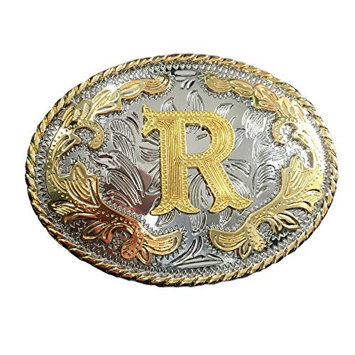 PANCY Western Style Cowboy Letter Belt Buckle For Men (belt buckle-R)