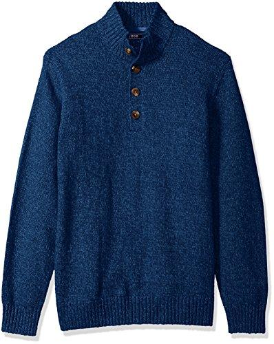 IZOD Men's Harbor River Button Up Sweater, Estate Blue, Large