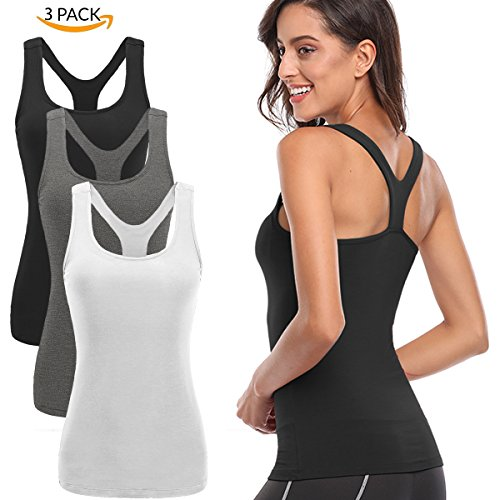 TELALEO Tank Tops for Women, Womens Quick-Drying Workout Tank Tops Clothes for Women Yoga Basic 3 Pack-Black/Gray/White-M (Top Racerback Womens)