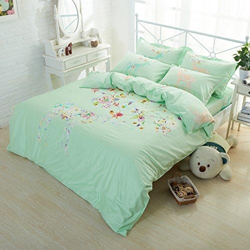 TheFit Paisley Textile Bedding for Adult U387 Art Green Deer Flora Duvet Cover Set 100% Cotton, Queen King Set, 4 Pieces (King)