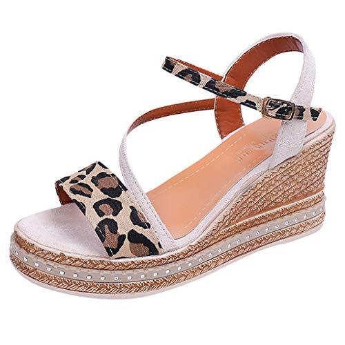 ◕‿◕Water◕‿◕ Women Peep Toe Wedge Sandals,Peep Toe Breathable Beach Sandals Rome Buckle Strap Leopard Sandals Beige