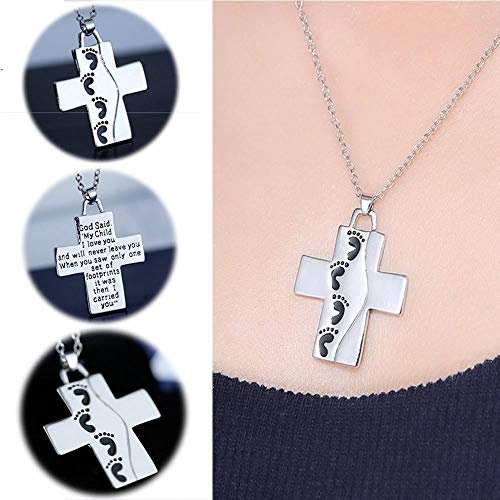 Cross Pendant Necklace Baby Footprints Prayer Jewelry Memory Chain Necklace -