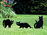 Garden Mile® Pack of 3 Black Powder Coated Metal Cat (Bird, Animal,Fox Humane Pest Control) Scarers,Wild Garden Animal Repeller, Bird Deterrent