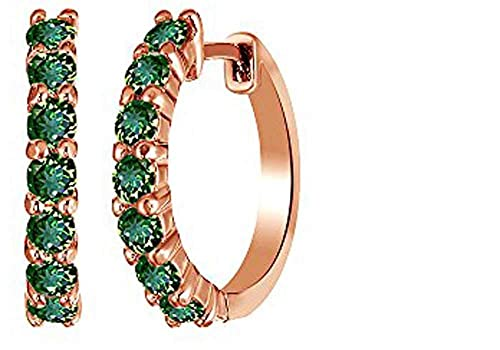 14k Rose Gold Over Sterling Silver Round Cut Front Hoop Earrings 0.64 Diameter, 0.7 Cttw