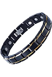 Unique Stainless Steel Mens Gold Black Power Element Bracelet with Magnets and Free Link Removal Kit
