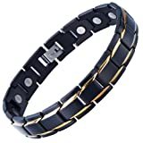 Magnetic Stainless Steel Mens Gold Black Power Element Bracelet with Magnets and Free Link Removal Kit