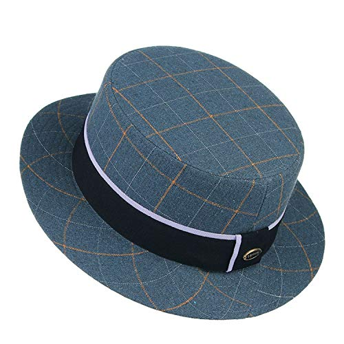 British Style Men Jazz Cap Fedora Hats Vintage Fashion Plaid Flat-top Narrow Brim Wool Blend Felt Hats Top Hat Trilby,Blue,58 cm