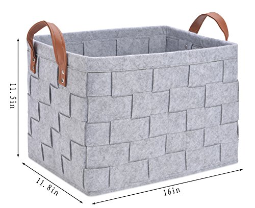 0f814a5ec519 Collapsible Storage Basket Bins, Foldable Handmade Rectangular Felt Fabric  Storage Box Cubes Containers with Handles- Large Organizer For Nursery ...
