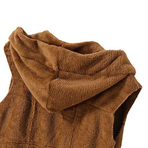 Femmes Sans Grande Unie Taille Manches Longue Couleur À Capuche Manteau Marron Chaud Holywin pPxwaFqHa