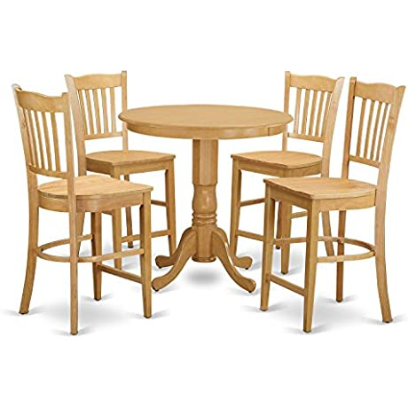 East West Furniture JAGR5 OAK W 5 Piece Kitchen Table And 4 Bar Stools Set