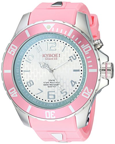 KYBOE! 'Power' Quartz Stainless Steel and Silicone Casual Watch, Color:Pink (Model: KY.55-028.15)