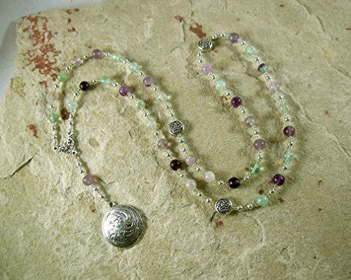 Sigyn Prayer Bead Necklace in Rainbow Fluorite: Norse Goddess of Devotion, Bride of - Prayer Goddess Beads