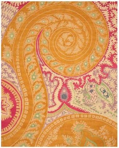 EORC IE8780B4X6 Hand-Tufted Wool Paisley Rug, 4 x 6 , Orange