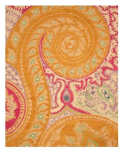 EORC IE8780B Hand Tufted Wool Paisley Rug, 4-Feet by 6-Feet, Orange