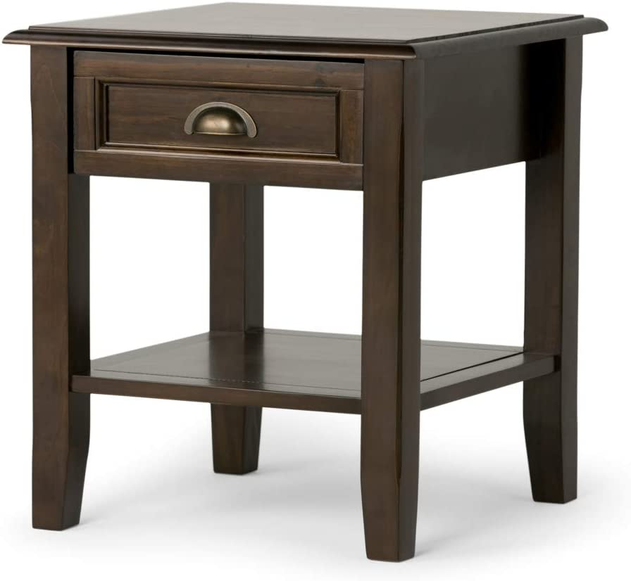SIMPLIHOME Burlington SOLID WOOD 18 inch wide Square Traditional End Side Table in Mahogany Brown with Storage, 1 Drawer and 1 Shelf, for the Living Room and Bedroom