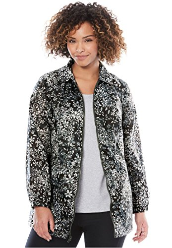 Women's Plus Size Nylon Jacket, Zip Front Style Dark Charcoal Shadow Floral,2X - Nylon Zip Front Jacket