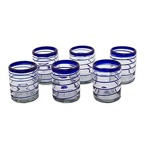 NOVICA 'Cobalt Spiral' Rocks Glasses Set Of 6, 3.9″ Tall, Blue, Clear