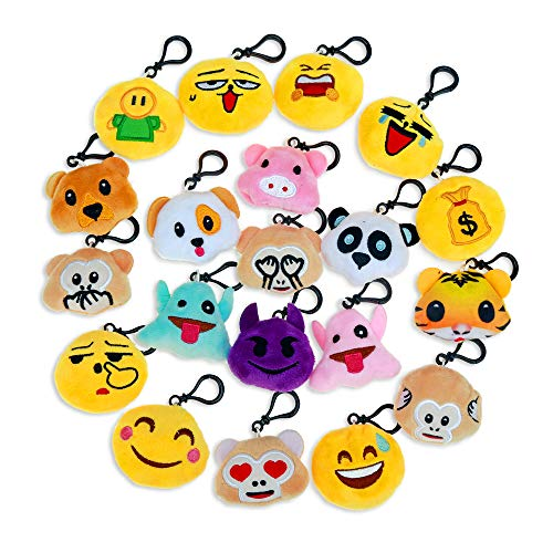 Niviy Plush Emoji Keychain Cute Emoji Faces Emoji Themed Party Favors Decorations for Kids Party/Birthday Gift, Pack of 20(2 inch)