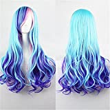 Upgrade Version Women Wigs Gradient Long Curly Hair Cosplay Party Costume Wig with A Hairnet (Blue Mixed Pink) BU040