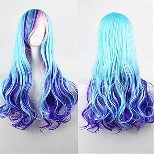 Upgrade Version Women Wigs Gradient Long Curly Hair Cosplay Party Costume Wig with A Hairnet (Blue Mixed Pink) BU040 -